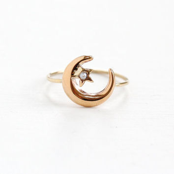 Antique 10k Rose Gold Crescent Moon & Star Seed Pearl Ring - Victorian Stick Pin Luna Conversion Feminine Divine and Guidance Jewelry