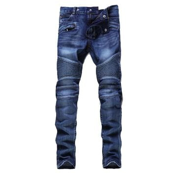 Hip Hop Mens Motorcycle Jeans Blue Slim fit Biker Jeans Mens Pleated Straight Denim Pants Z1218