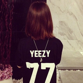 YEEZY 77 American couples men and women Street O-Neck Short Sleeve T-shirt = 1929664004