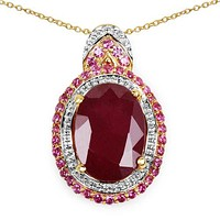 Perfect 14K Yellow Gold Natural 8.9CT Oval Cut Red Ruby Halo Pendant Necklace