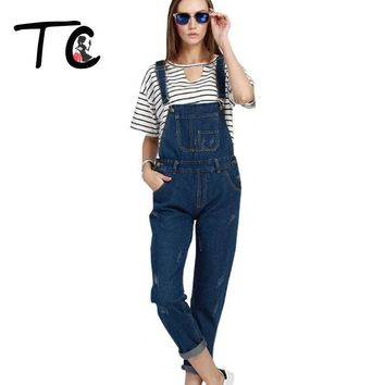 TC Big Size 5XL 4XL 3XL Women Jeans Overall 2016 Spring Fashion Blue Ripped Loose Slim Scratched Denim Overall Jumpsuit FT00262