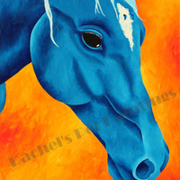 Horse Art, Blue Horse Limited Edition Giclee Print, Equestrian Art