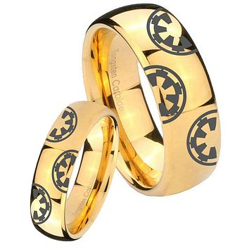 His Her Glossy Dome Star Wars & Galactic Empire 14K Gold IP Tungsten Wedding Rings Set