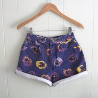 Vintage Purple Floral Print High Waisted Denim Shorts Mom Jean Rolled Cotton 24""
