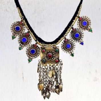 Afghan Kuchi Pendant Tribal Choker Necklace Gypsy Ethnic Boho Bohemian Jewelry