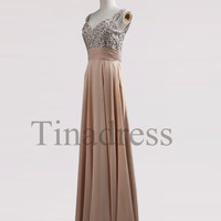 Custom Champagne Beaded Long Bridesmaid Dresses 2014 Prom Dresses Fashion Party Dresses Evening Gowns Homecoming Dresses Evening Dresses