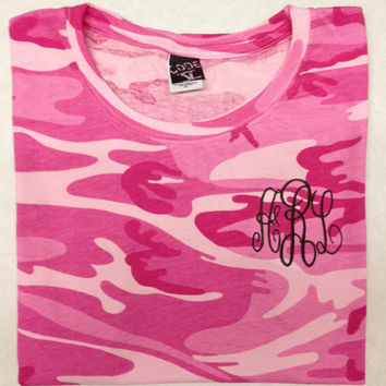 Monogrammed Camouflage tshirt by CheeksLittleBoutique on Etsy
