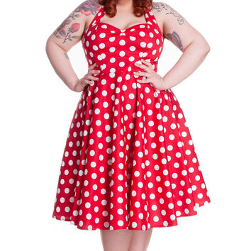 Plus Size Rockabilly Red and White Polka Dot Minnie Halter Dress