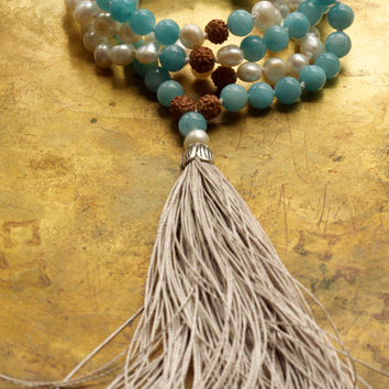 Aquamarine mala beads Mermaid mala necklace Wedding mala Sky blue bohemian necklace Aquamarine boho necklace Throat chakra yoga Pretty mala