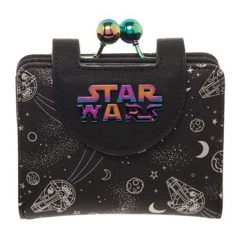 Disney Star Wars Universe Wallet & Coin Purse, Galaxy Hologram, All Over Print Space Spacecraft