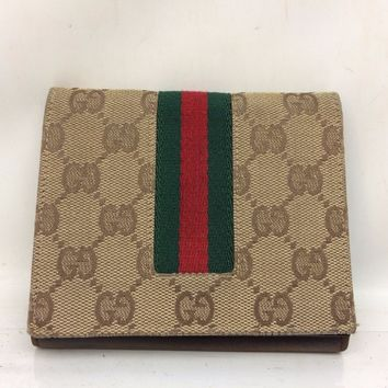Authentic GUCCI Vintage GG Logos Bifold Wallet Purse Beige 7J120040p