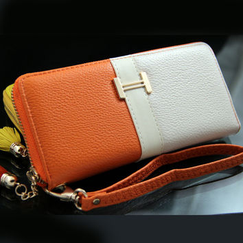 Fashion Lady Women's Long Zipper PU Leather Wallet Clutch Purse Handbag 2Color Stitching New