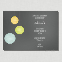 Summer Nights Dreams - Paper Lanterns Black Chalkboard - DIY Printable Invitation