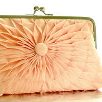 Pink Peach Pleated Chiffon Button Clutch  Size by HeidiCreations