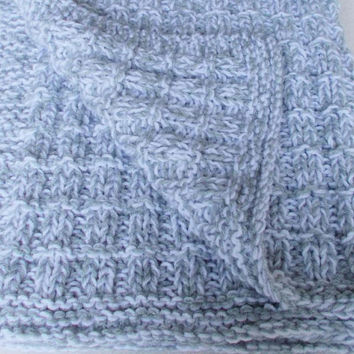 Warm Winter Hand Knit Gray Baby Blanket, Gender Neutral Color Girl Boy Gift, New Thick Chunky Knit Toddler Kids Afghan, Newborn Infant Child