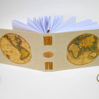 Travel map journal with custom thread binding- Eco friendly map sketchbook with 200 recycled pages- Burlap fabric travel journal