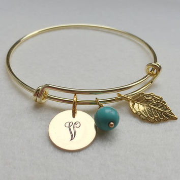 Charm Bracelet, Charm leaf bracelet, Monogram, Turquoise, Personalized Charm bracelet, Personalized jewelry for Mom, Gold Women Accessories