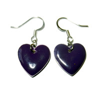 Purple Heart Enamel Drop Epoxy Charm Earrings