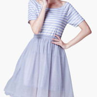 Light Blue Striped Short Sleeve High Waisted Midi Dress