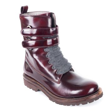 Brunello Cucinelli Burgundy Patent Leather Combat Boot