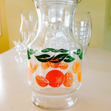 Anchor Hocking Orange Juice Pitcher, Carafe ; Vintage Oranges w green leaves