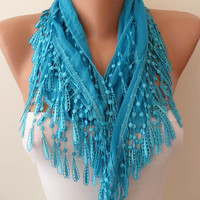 Blue and Elegance Shawl / Scarf with Lace Edge by SwedishShop
