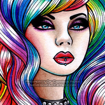 Limited Edition 6 out of 25 5x7 in Art Print - Hard Candy 2- Pin Up Girl With Rainbow Hair