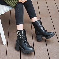 Rivets Hasp Lace UP Round Toe Middle Chunky Heel Half Martin Boots