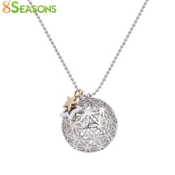 8SEASONS Copper Flower Of Life Charms Pendants Round Necklace Silver Tone Color Hollow Carved Summer Boho Handmade 67cm 1 Piece