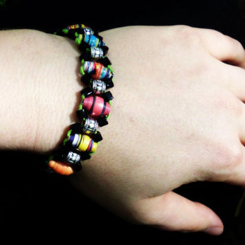 Arm Candy Recycled Paper Bead and Hemp Bracelet. Eco chic.