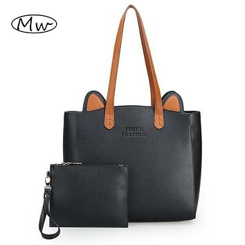 High Quality Big Tote Bag Women Leather Handbags Cute Cat Ears Shoulder Bag Mom Shopping Bag
