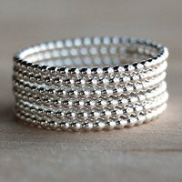 Beaded Sterling Silver Stacking Rings
