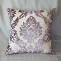 Muted Lilac Cut Velvet Damask Cushion Cover by RachelKerbyCouture