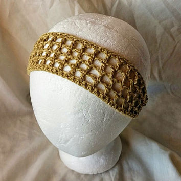 Crochet headband Golden yellow  cotton linen neck tie Summer colors head scarf  hippie hair accessory Rockabilly scarf