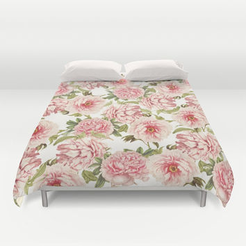 old fashioned peonies Duvet Cover by Sylvia Cook Photography