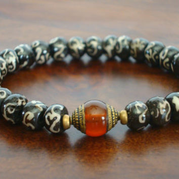 Tibetan Bone Mantra Mala Bracelet - Tibetan Capped Carnelian & Om Mantra Bracelet - Yoga, Buddhist, Meditation, Prayer Beads, Jewelry