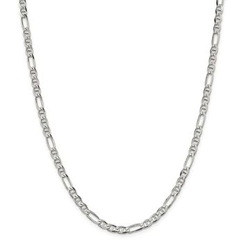 925 Sterling Silver 4.5mm Figaro Anchor Chain Necklace, Bracelet or Anklet