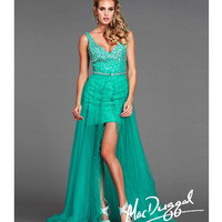 Mac Duggal 40329L Jade Chiffon High-Low Prom Gown 2015 Prom Dresses