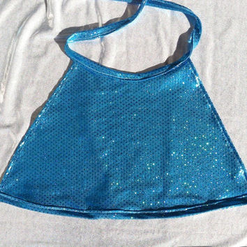 Blue Hologram Halter Top - ravewear