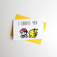 I Choose You Pokemon Valentine Card - Anniversary Card - Greeting Card 6M47