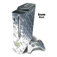 Mightyskins Protective Skin Decal Wrap Cover for Xbox 360 Console + two Xbox 360 Controllers Sticker - Diamond Plate
