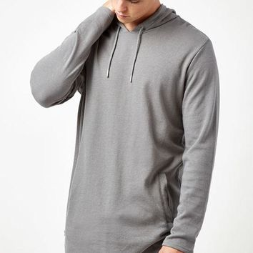 DCCKYB5 Brice Hooded Long Sleeve Extended Length Scallop T-Shirt