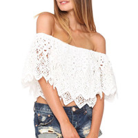 Fiesta crop top in Aztec romantic whiteout