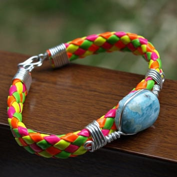 Dominican Blue Larimar Bracelet, Woven Braided Wire Wrapped, beach stone, Neon Multi Color  Caribbean, handmade, Teens Jewelry Funky Boho