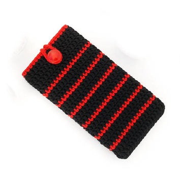Black Red iPhone X sleeve, Pixel 2 phone sock, Vegan Nokia 7 case, Honor 9 cozy, Sony Xperia XA2 pouch, HTC U11 Life cover, Moto X4 purse