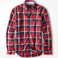 AEO Plaid Button Down Shirt, Red | American Eagle Outfitters