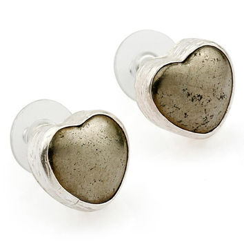 Heart Fools Gold  Pyrite Stud Earrings
