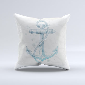 Vintage White and Blue Anchor Illustration Ink-Fuzed Decorative Throw Pillow