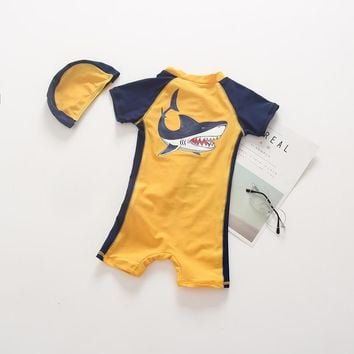 Girls short Sleeves 1 Pieces Bathing Suits with Swimming Cap Children Swimwear for Boys  High Quality beach clothes
