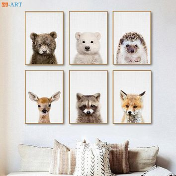 Baby Polar Bear Deer Fox Hedgehog Prints Woodland Nursery Animal Wall Art Kids Room Large Canvas Painting Home Decor Framed